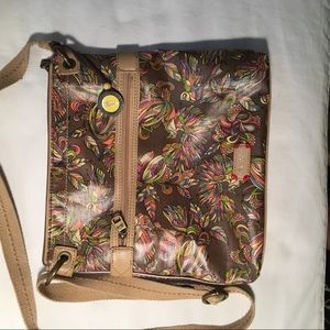 Sakroots Shoulder Bag Brown w/ Birds Canvas Strap